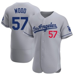 Alex Wood Los Angeles Dodgers Men's Authentic Away Official Jersey - Gray