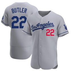 Brett Butler Los Angeles Dodgers Men's Authentic Away Official Jersey - Gray