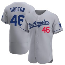 Burt Hooton Los Angeles Dodgers Men's Authentic Away Official Jersey - Gray