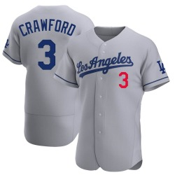 Carl Crawford Los Angeles Dodgers Men's Authentic Away Official Jersey - Gray