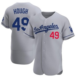 Charlie Hough Los Angeles Dodgers Men's Authentic Away Official Jersey - Gray