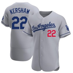 Clayton Kershaw Los Angeles Dodgers Men's Authentic Away Official Jersey - Gray