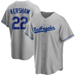 Clayton Kershaw Los Angeles Dodgers Youth Replica Road Jersey - Gray