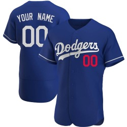 Custom Los Angeles Dodgers Men's Authentic Alternate Jersey - Royal