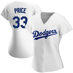 David Price Los Angeles Dodgers Women's Authentic Home Jersey - White