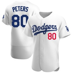 DJ Peters Los Angeles Dodgers Men's Authentic Home Official Jersey - White