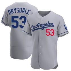 Don Drysdale Los Angeles Dodgers Men's Authentic Away Official Jersey - Gray