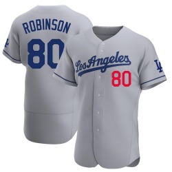Errol Robinson Los Angeles Dodgers Men's Authentic Away Official Jersey - Gray