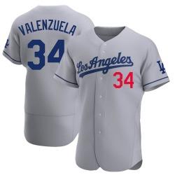 Fernando Valenzuela Los Angeles Dodgers Men's Authentic Away Official Jersey - Gray