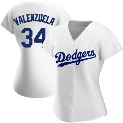 Fernando Valenzuela Los Angeles Dodgers Women's Authentic Home Jersey - White