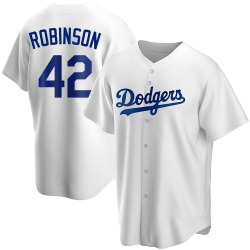 Jackie Robinson Los Angeles Dodgers Men's Replica Home Jersey - White