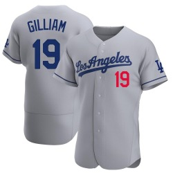 Jim Gilliam Los Angeles Dodgers Men's Authentic Away Official Jersey - Gray
