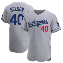 Jimmy Nelson Los Angeles Dodgers Men's Authentic Away Official Jersey - Gray