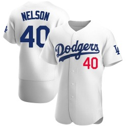 Jimmy Nelson Los Angeles Dodgers Men's Authentic Home Official Jersey - White