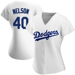 Jimmy Nelson Los Angeles Dodgers Women's Authentic Home Jersey - White
