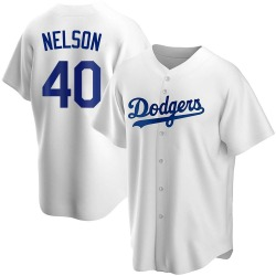 Jimmy Nelson Los Angeles Dodgers Youth Replica Home Jersey - White