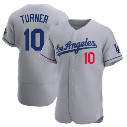 Justin Turner Los Angeles Dodgers Men's Authentic Away Official Jersey - Gray