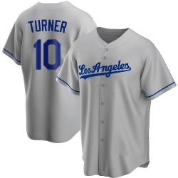 Justin Turner Los Angeles Dodgers Men's Replica Road Jersey - Gray