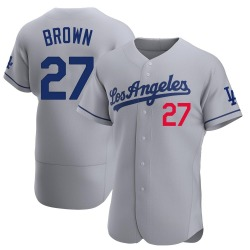Kevin Brown Los Angeles Dodgers Men's Authentic Gray Away Official Jersey - Brown