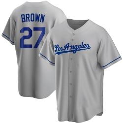 Kevin Brown Los Angeles Dodgers Men's Replica Gray Road Jersey - Brown