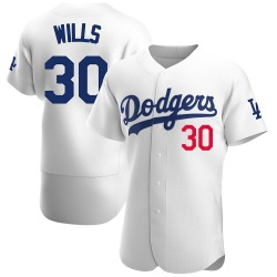Maury Wills Los Angeles Dodgers Men's Authentic Home Official Jersey - White