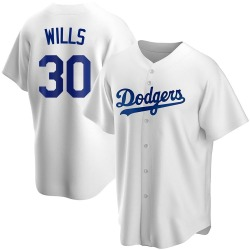 Maury Wills Los Angeles Dodgers Men's Replica Home Jersey - White