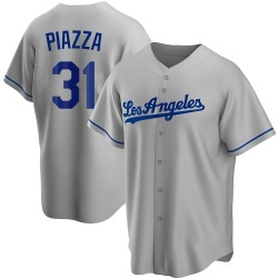 Mike Piazza Los Angeles Dodgers Men's Replica Road Jersey - Gray
