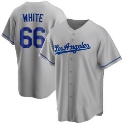 Mitchell White Los Angeles Dodgers Men's Replica Gray Road Jersey - White