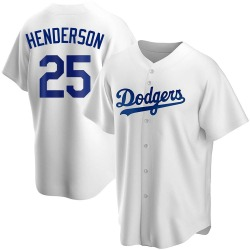 Rickey Henderson Los Angeles Dodgers Youth Replica Home Jersey - White