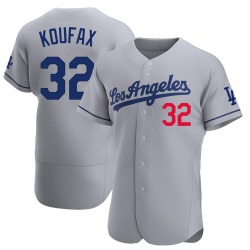 Sandy Koufax Los Angeles Dodgers Men's Authentic Away Official Jersey - Gray