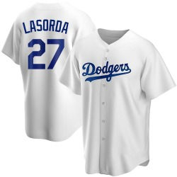 Tommy Lasorda Los Angeles Dodgers Youth Replica Home Jersey - White