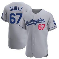 Vin Scully Los Angeles Dodgers Men's Authentic Away Official Jersey - Gray