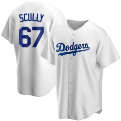 Vin Scully Los Angeles Dodgers Men's Replica Home Jersey - White